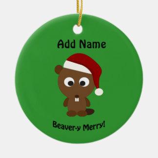 Funny Beaver-y Merry! Santa Beaver Round Ceramic Decoration