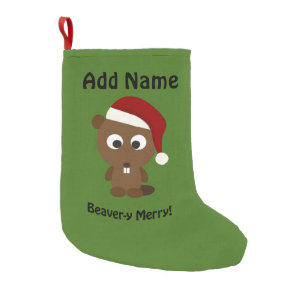 funny beaver y merry santa beaver small christmas stocking - Funny Christmas Stockings
