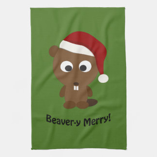 Funny Beaver-y Merry! Santa Beaver Tea Towel