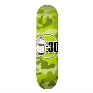 Funny Beer : 30, bright green camo, camouflage 18.1 Cm Old School Skateboard Deck