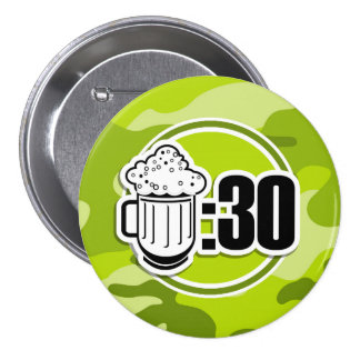 Funny Beer 30 bright green camo camouflage Pinback Button