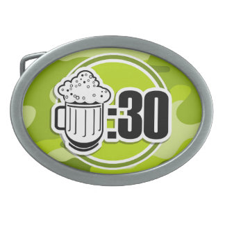 Funny Beer 30 bright green camo camouflage Belt Buckles
