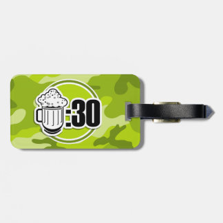 Funny Beer 30 bright green camo camouflage Travel Bag Tag