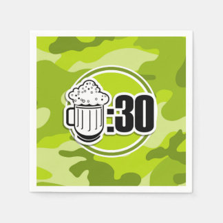 Funny Beer : 30, bright green camo, camouflage Disposable Napkin