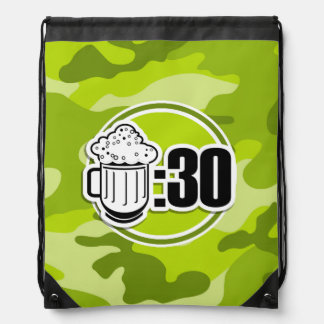 Funny Beer 30 bright green camo camouflage Drawstring Bag