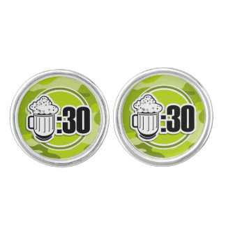Funny Beer 30 bright green camo camouflage Cufflinks
