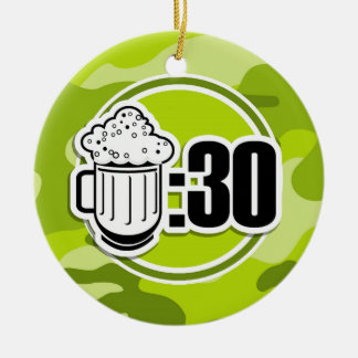 Funny Beer : 30, bright green camo, camouflage Round Ceramic Decoration