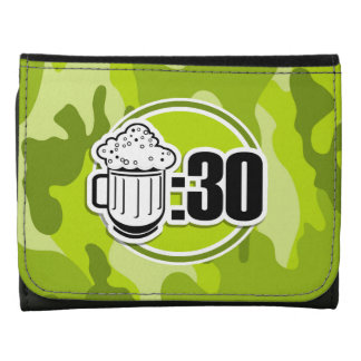 Funny Beer 30 bright green camo camouflage Wallet