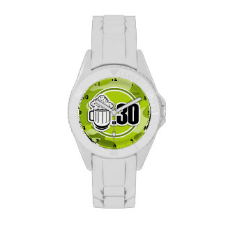 Funny Beer 30 bright green camo camouflage Watch