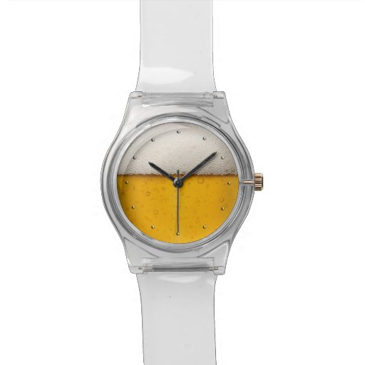 Funny Beer Bubbles Clear Wristwatches