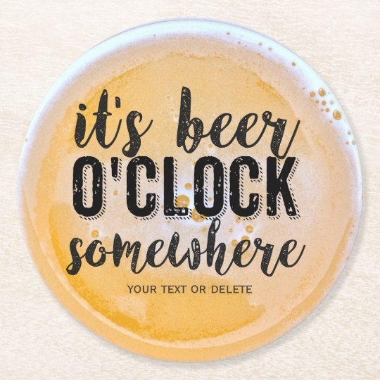 Funny Beer Drinkers Vintage Typography Custom Text Round