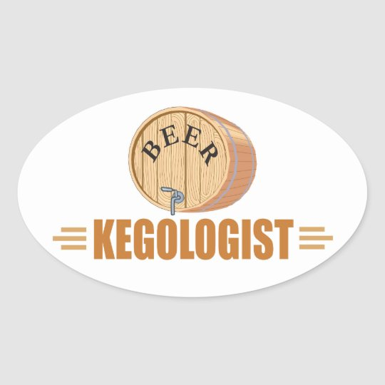 Funny Beer Keg Oval Sticker