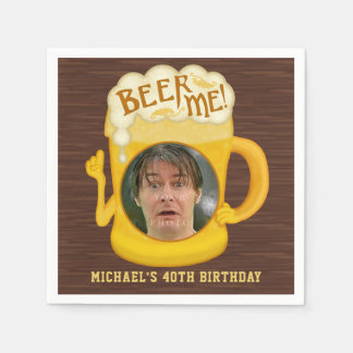 Funny Beer Me Drinking Humor Birthday Party Photo Disposable Napkin