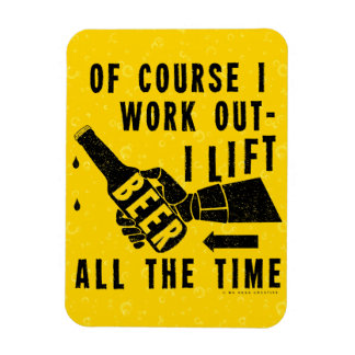 Funny Beer Work Out Humor Golden Lager Bubbles Rectangular Photo Magnet
