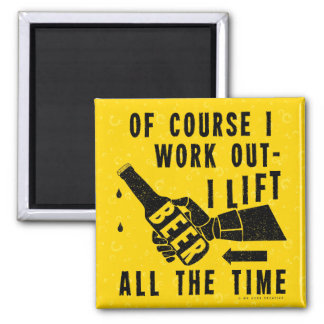 Funny Beer Work Out Humor Golden Lager Bubbles Square Magnet