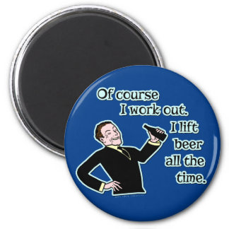 Funny Beer Work Out Humor Retro Version 2 6 Cm Round Magnet