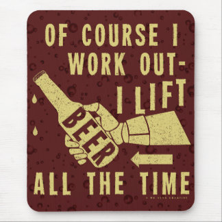 Funny Beer Work Out Humor with Brown Stout Bubbles Mouse Mat