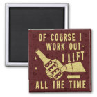 Funny Beer Work Out Humour with Brown Stout Magnet
