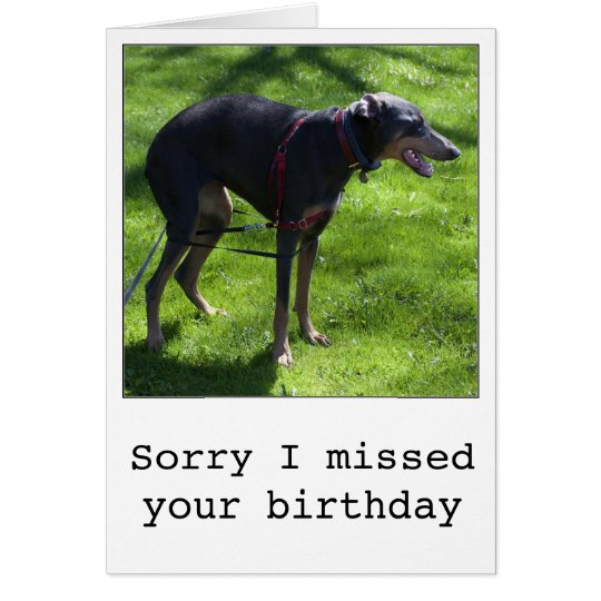 Funny belated birthday dog greeting card