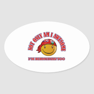 Funny BERMUDIAN smiley flag designs Oval Sticker