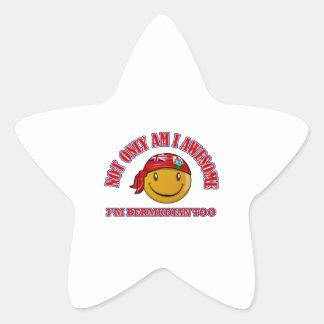 Funny BERMUDIAN smiley flag designs Star Sticker