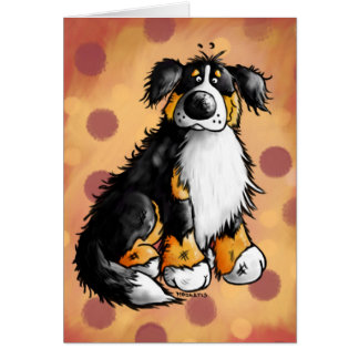 Funny Bernese Mountain Dog Cartoon Greeting Card