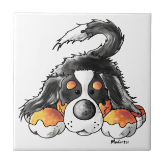 Funny Bernese Mountain Dog Cartoon Tile