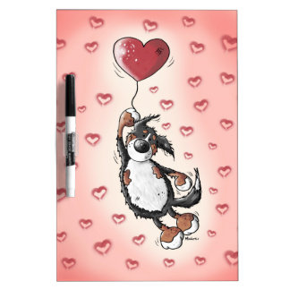 Funny Bernese Mountain Dog With Heart Balloon Dry Erase Board