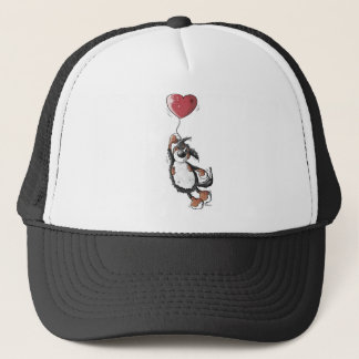 Funny Bernese Mountain Dog With Heart Balloon Trucker Hat
