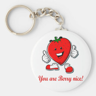 Funny Berry nice unique strawberry pun quote Key Ring