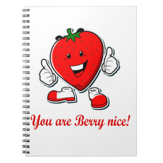 Funny Berry nice unique strawberry pun quote Spiral Notebook