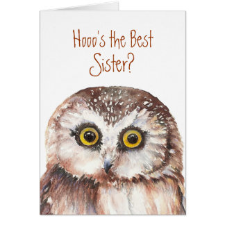 Funny Best Sister Birthday Wise Owl Humor Cards