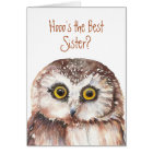 Funny Best Sister? Birthday Wise Owl Humour Card
