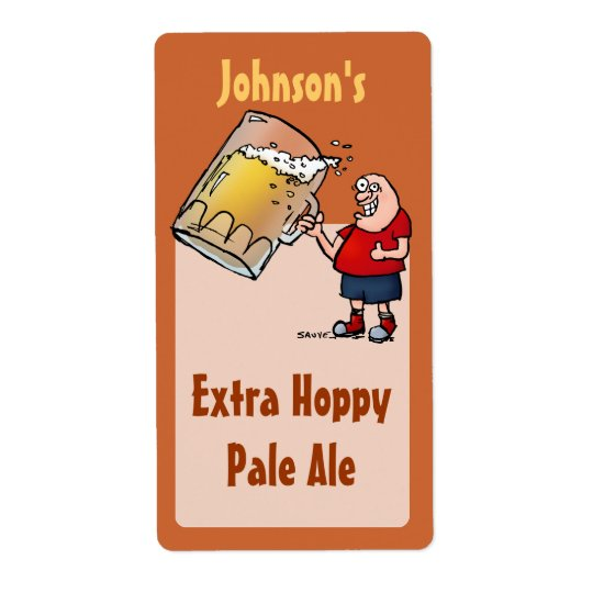 Funny Big Beer Guy Homebrew Beer Label