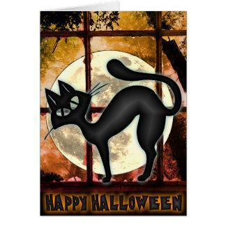 Funny Big Black Cat Halloween Greeting Card