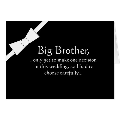 Funny Big Brother Best Man Invitation Card