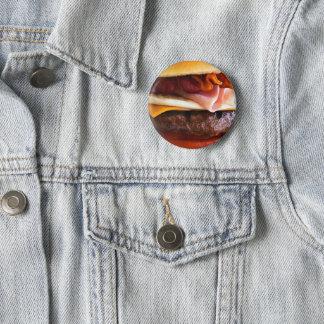 Funny big burger 6 cm round badge