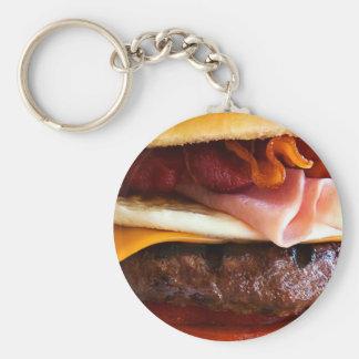 Funny big burger basic round button key ring