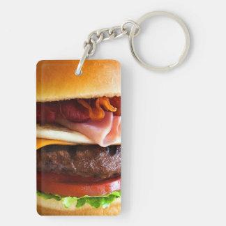 Funny big burger Double-Sided rectangular acrylic key ring
