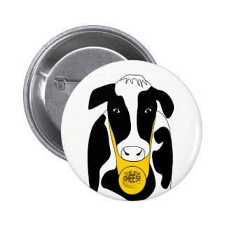Funny Big Cheese Cow Boss Button