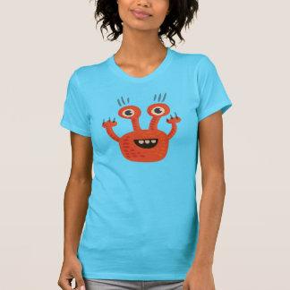 Funny Big Eyed Orange Happy Monster Shirts