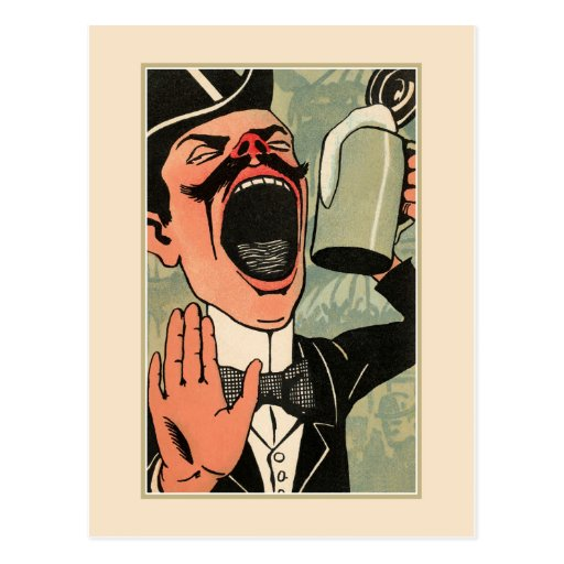 Funny big mouth vintage beer drinking cartoon post card