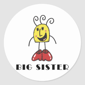 Funny Big Sister Round Stickers