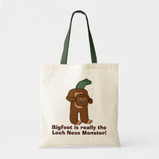 Funny Bigfoot Loch Ness Monster Tote Bag