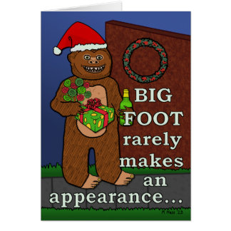 Funny Bigfoot Merry Christmas Pun Sasquatch Card