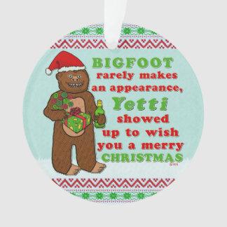 Funny Bigfoot Merry Christmas Sasquatch Pun Ornament