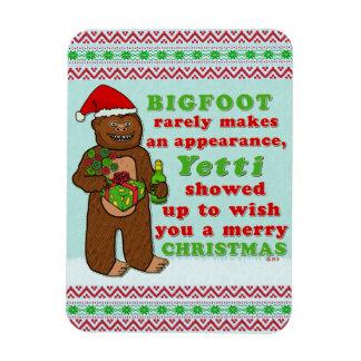 Funny Bigfoot Merry Christmas Sasquatch Pun Rectangular Photo Magnet
