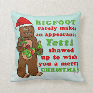 Funny Bigfoot Merry Christmas Sasquatch Pun Throw Pillow