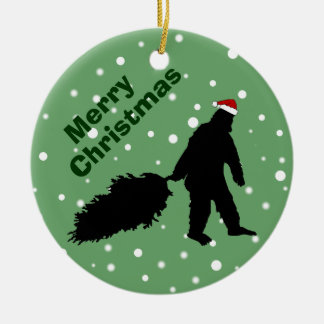Funny Bigfoot Pulling Christmas Tree Ornament