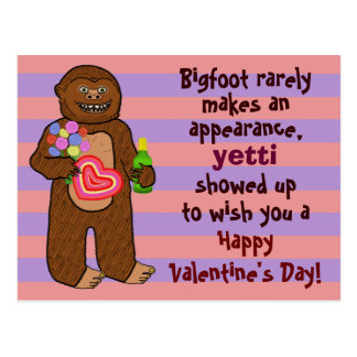 Funny Bigfoot Valentine's Day Pun Postcard